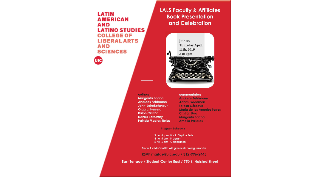 LALS Book Presentation Flyer event takes place April 11, 2019 from 3:00 to 6:00 pm in the SCE East Terrace